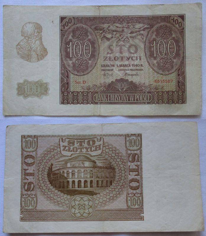 100 Zloty Banknote Polen Krakow Krakau 1.März 1940 (106669)