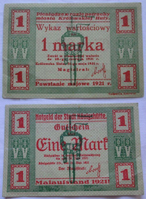 1 Mark Banknote Notgeld Stadt Königshütte Chorzów 1921 (109668)
