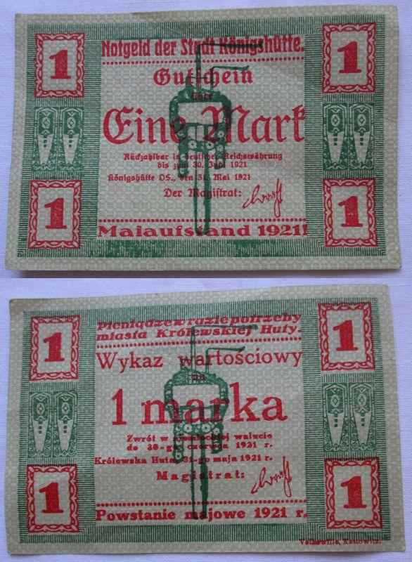 1 Mark Banknote Notgeld Stadt Königshütte Chorzów 1921 (109522)