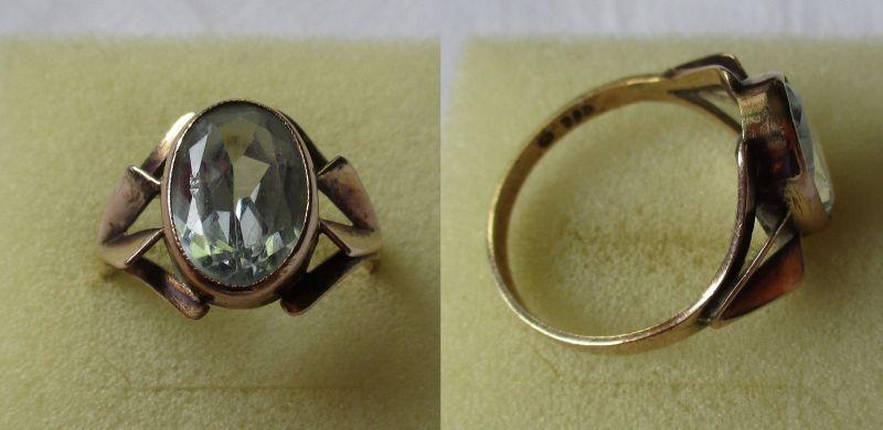 Wunderbarer 333er Gold Ring Damenring mit blaßblauem Stein (119183)
