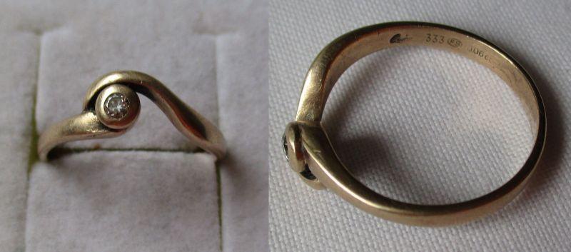 Toller 333er Gold Ring Damenring mit kleinen Diamanten 0,06 Ct. (122321)