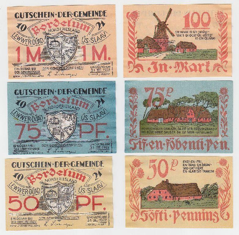 3 Banknoten Notgeld Gemeinde Bordelum 1921 (115743)