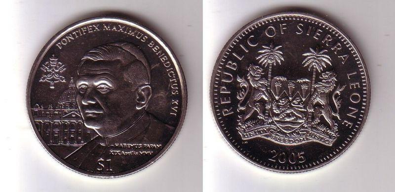 1 Dollar Nickel Münze Sierra Leone Pabst Benedikt 2005 116197 Nr