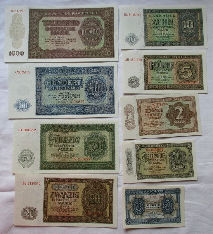 Satz DDR Banknoten 50 Pf.-1000 Mark 1948 UNC./ KASSENFRISCH ! (110345)