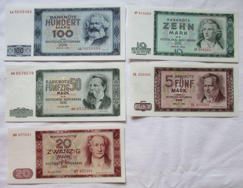 Satz DDR Banknoten 5-100 Mark 1964 UNC./ KASSENFRISCH ! (110110)