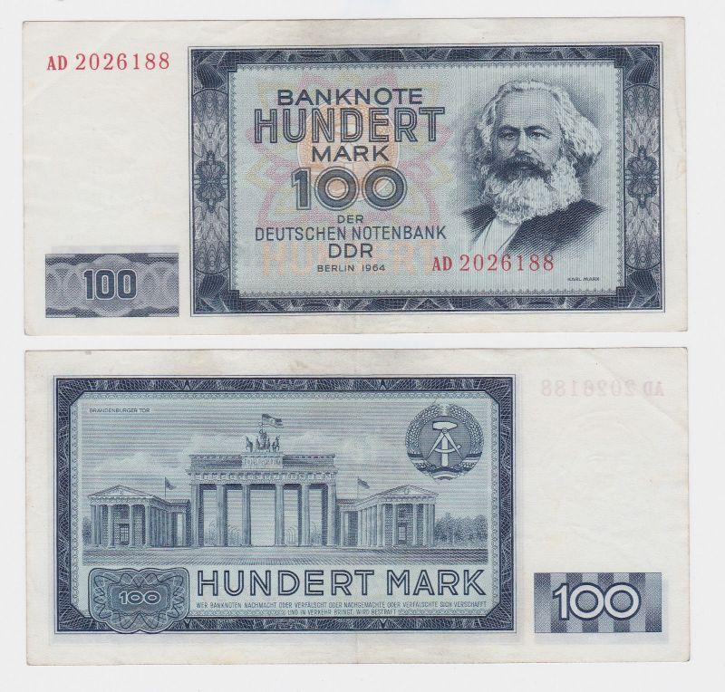 100 Mark Banknote DDR Deutsche Notenbank 1964 II bis III (105325)