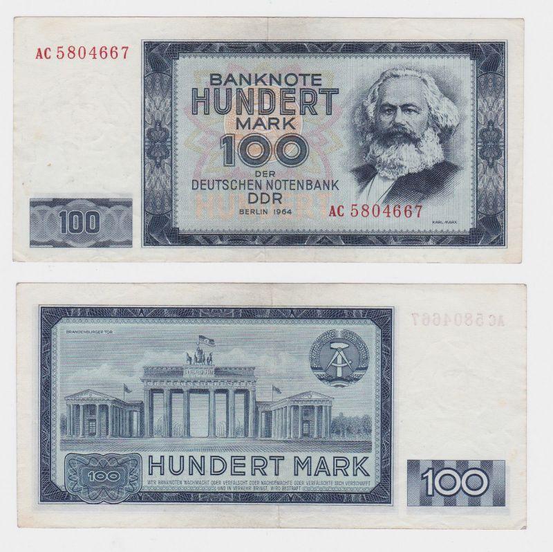 100 Mark Banknote DDR Deutsche Notenbank 1964 II bis III (105590)