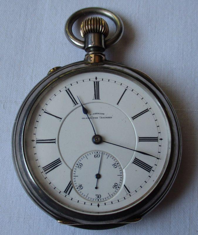 Silberne Taschenuhr J.Assmann Glashütte 935er Silber um 1910 (118826)