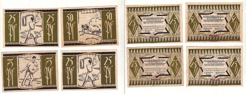 4 Banknoten Notgeld Gemeinde Hainholz 1921 (112813)