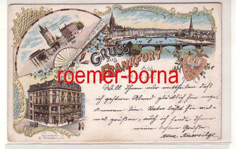 49420 Ak Lithografie Gruss aus Frankfurt a.M. Warenhaus Wronker usw. 1898