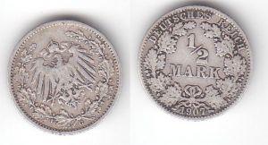 1/2 Mark Silber Münze Deutsches Reich 1907 G  (114886)