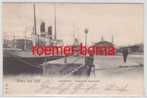 73305 Ak Gruß aus Kiel Hafenpartie Postdampfer Kiel Korsör 1901