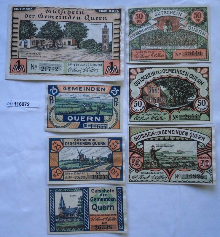 7 Banknoten Notgeld Gemeinde Quern 1921 (116072)