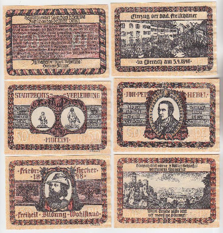 6 Banknoten Notgeld Stadt Lörrach 1922 (111997)
