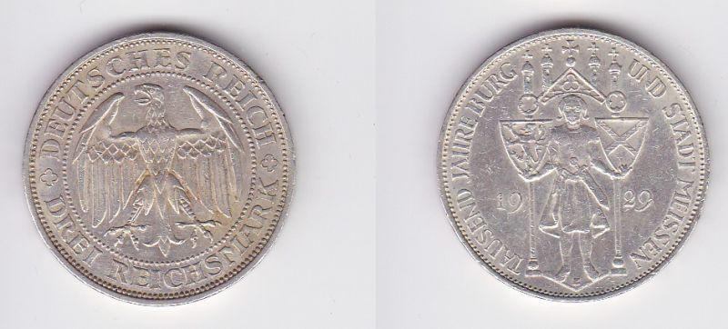 Silber Münze 3 Mark 1000 Jahre Stadt Meißen 1929 E (120498)