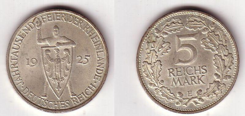 5 Mark Silber Münze Jahrtausendfeier der Rheinlande 1925 E (BN7300)