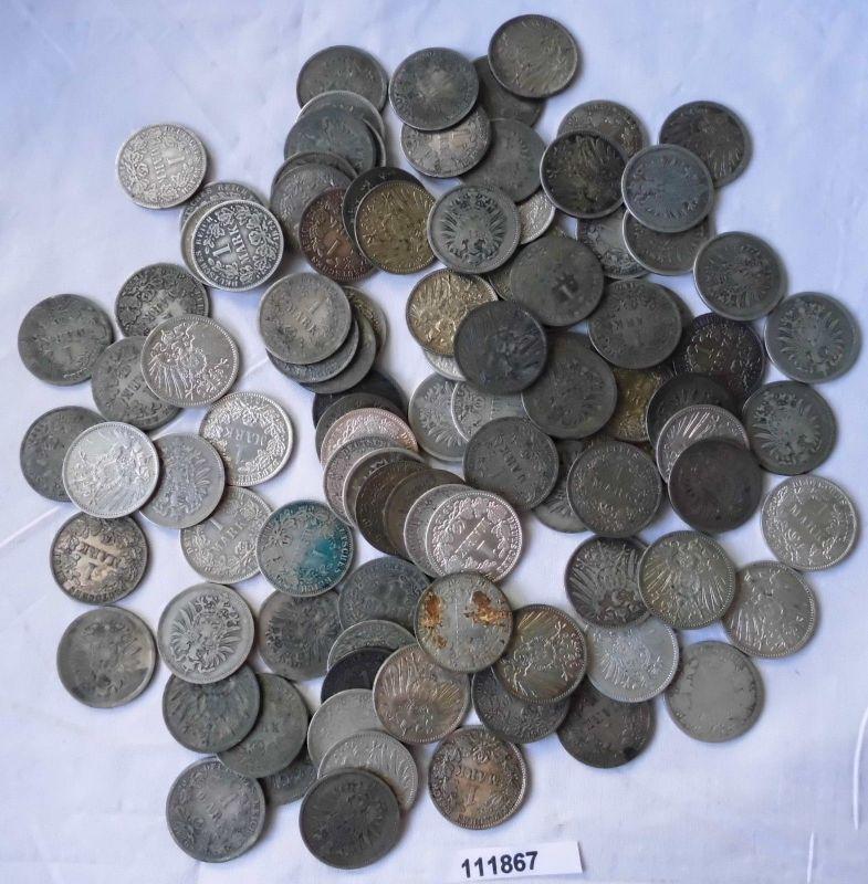 100 interessante Silber Münzen 1 Mark Kaiserreich (111867)