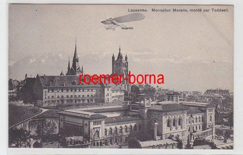 72309 Ak Lausanne Monoplan Morane Flugzeug über der Stadt um 1920