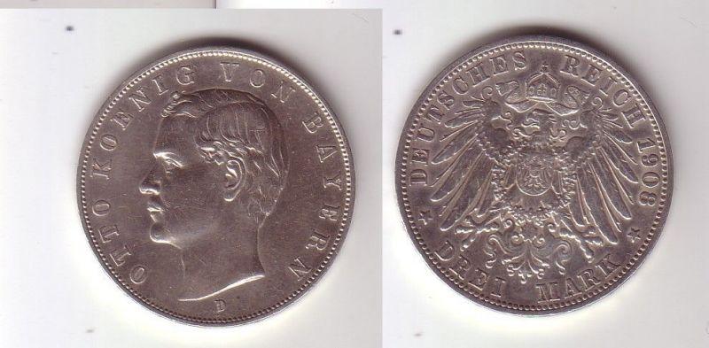 3 Mark Silber Münze Bayern König Otto 1908 D (115819)