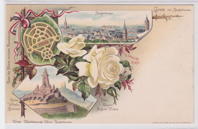 66486 Lithografie AK Gruss aus Sangerhausen - Kaiser Wilhelm-Denkmal, Kyffhäuser