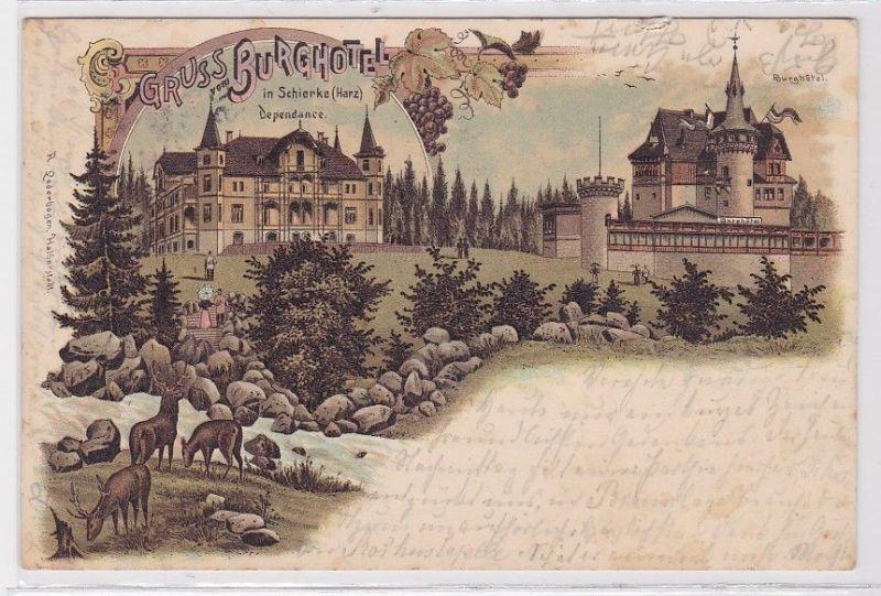 86928 Lithografie AK Gruss vom Burghotel in Schierke (Harz) - Dependance & Hotel