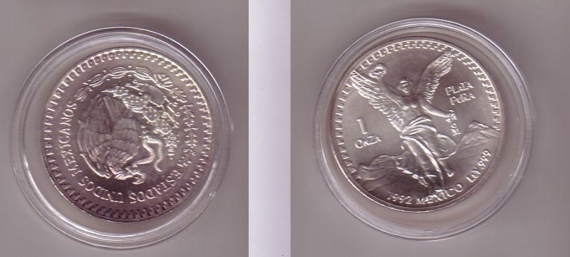 1 Onza Plata Pura Münze Mexiko 1 Unze 999 Silber Top 1992 110535