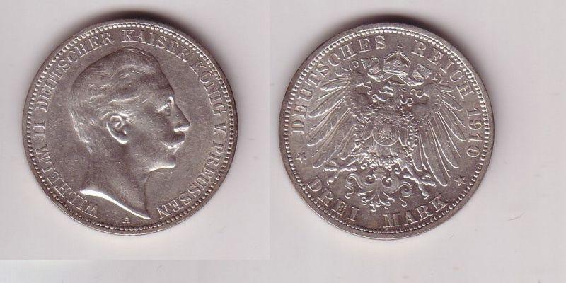 3 Mark Silbermünze Preussen Kaiser Wilhelm II 1910 Jäger 103  (116069)