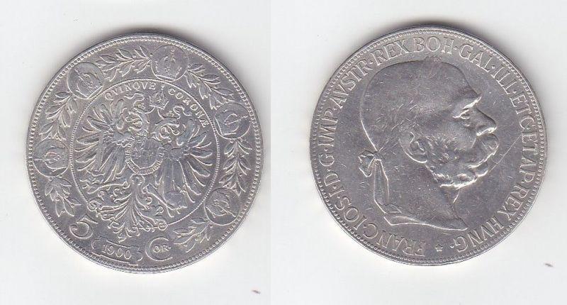 5 Kronen Silber Münze Österreich Kaiser Franz Josef 1900 (109420)