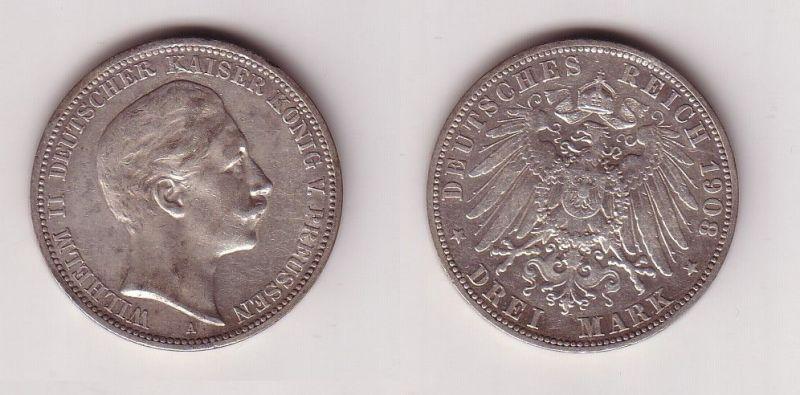 3 Mark Silbermünze Preussen Kaiser Wilhelm II 1908 Jäger 103  (115924)
