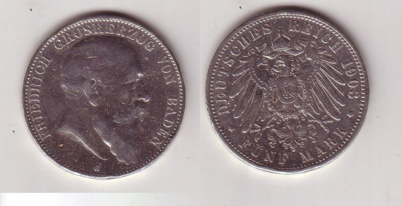 5 Mark Silbermünze Baden Großherzog Friedrich 1903 Jäger 33  (115671)