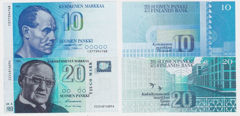 10 & 20 Markka Banknote Finnland 1986/1993 kassenfrisch (123770)