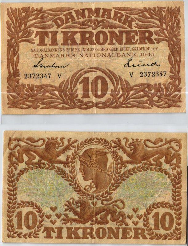 10 Kronen Banknote Dänemark 1943 (123990)