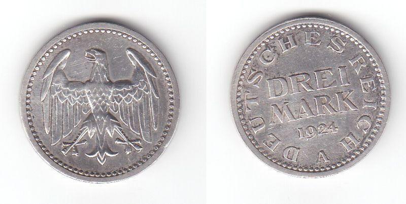 3 Mark Silbermünze Weimarer Republik 1924 A Jäger 312  (111005)