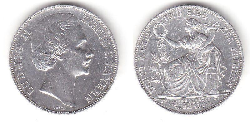1 Siegestaler Silber Muenze Bayern Ludwig Ii 1871 Vz Nr