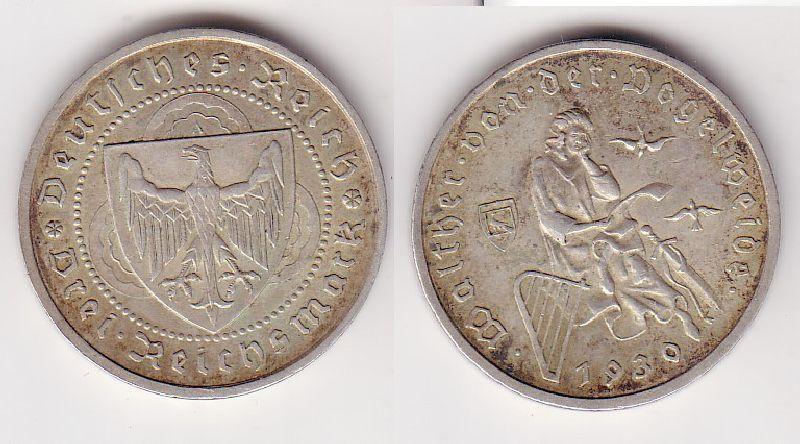 Silber Muenze 3 Mark Walter von der Vogelweide 1930 A (102751)