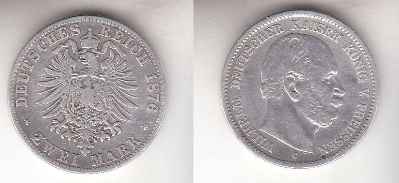 2 Mark Silbermünze Preussen Kaiser Wilhelm I. 1876 C Jäger 96  (112827)