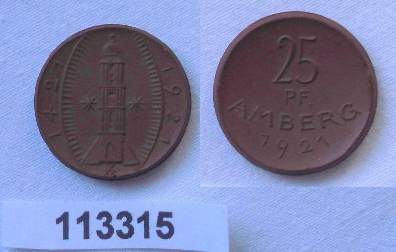 25 Pfennig Notgeld Münze Amberg Meißner Porzellan 1921 (113315)