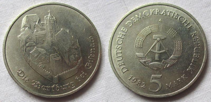 DDR Gedenk Münze 5 Mark Die Wartburg bei Eisenach 1982 (115939)