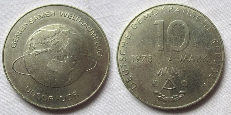 DDR Gedenk Münze 10 Mark gemeinsamer Weltraumflug DDR UdSSR 1978 (114301)