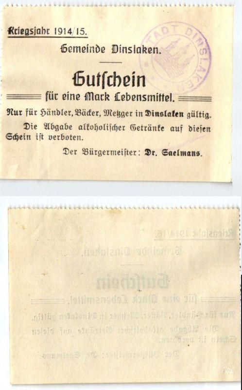 1 Mark Banknote Notgeld Gemeinde Dinslaken Kriegsjahr 1914/15 (123845)