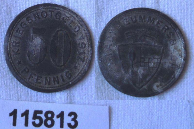 50 Pfennig Zink Münze Notgeld Stadt Gummersbach 1917 (115813)