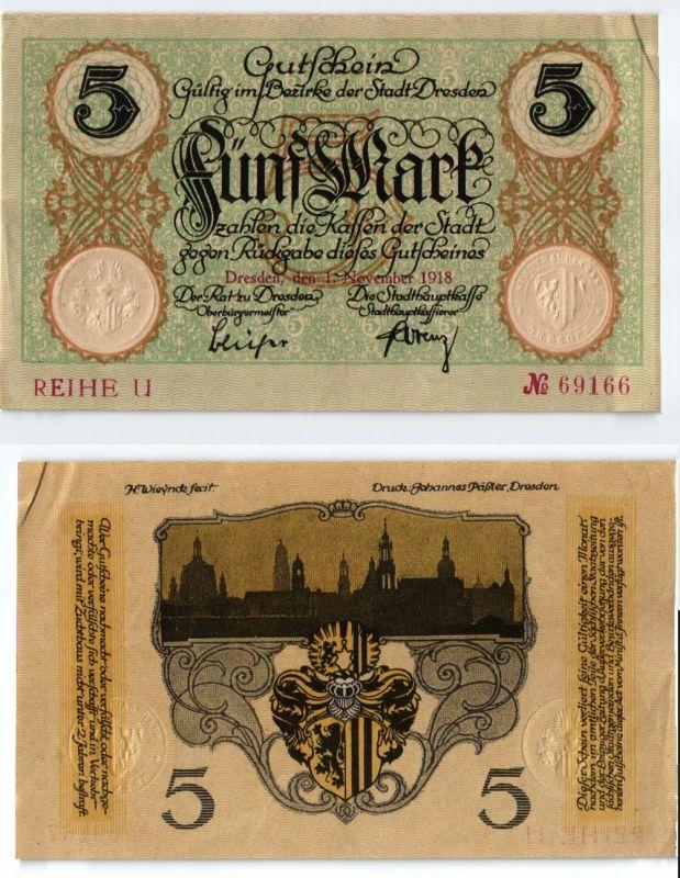 5 Mark Banknote Notgeld Stadt Dresden 1.November 1918 (123840)