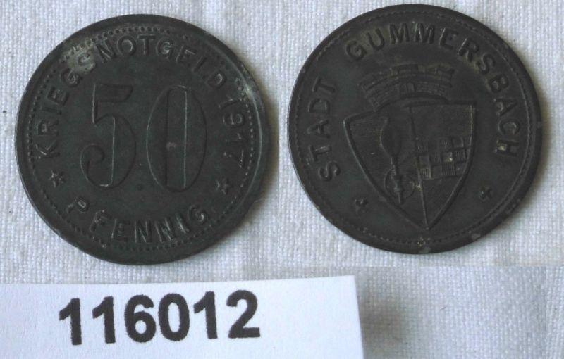 50 Pfennig Zink Münze Notgeld Stadt Gummersbach 1917 (116012)