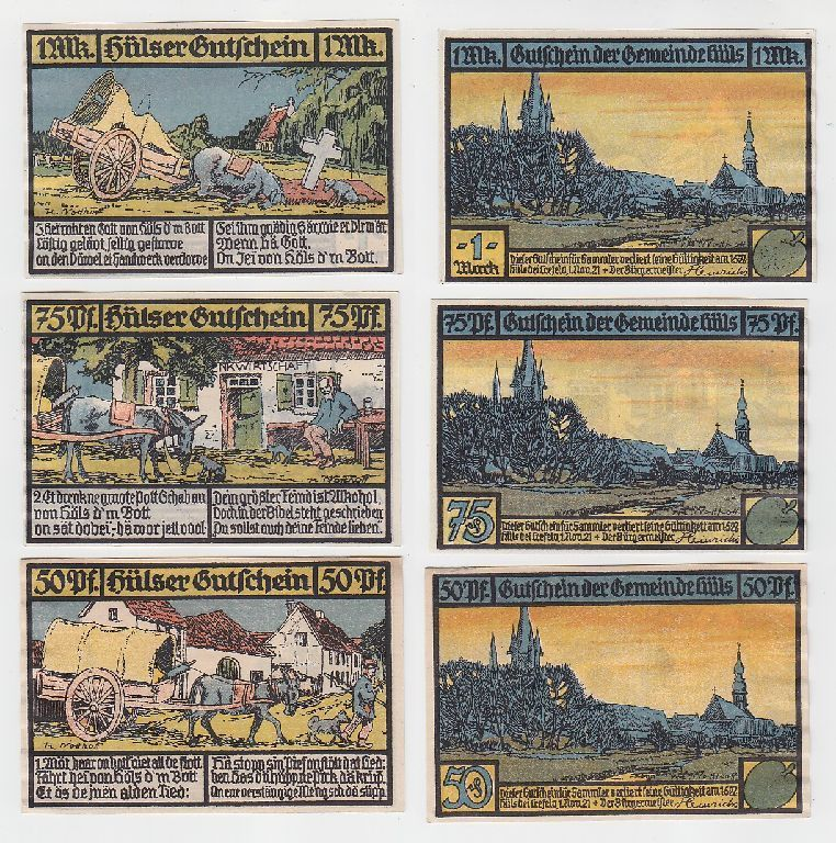 3 Banknoten Notgeld Gemeinde Hüls bei Krefeld 1921 (116126)