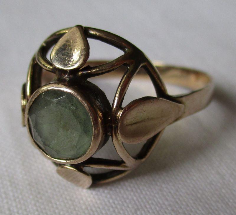 Dekorativer 333er Gold Ring Damenring mit graugrünem Stein (114357)