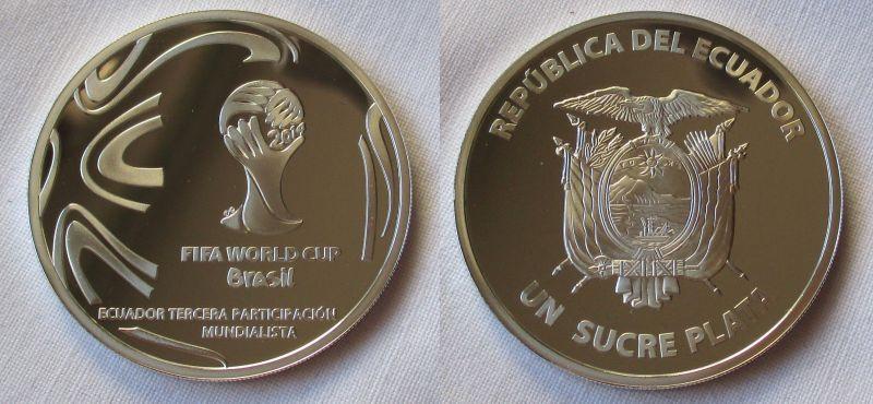 1 Sucre Plata Silber Münze Ecuador Fussball Wm Brasilien 2014