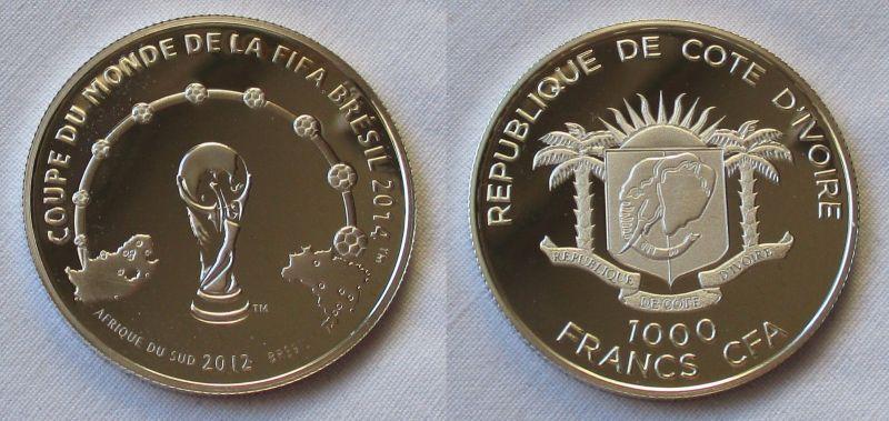1000 Francs Silber Münze Elfenbeinküste 2012 Fussball Wm