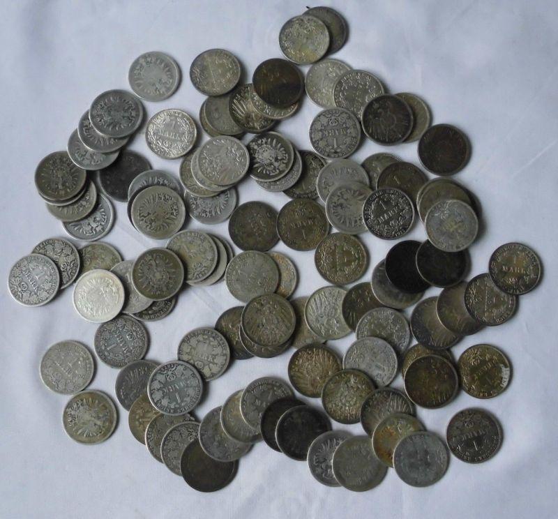 100 interessante Silber Münzen 1 Mark Kaiserreich (118341)