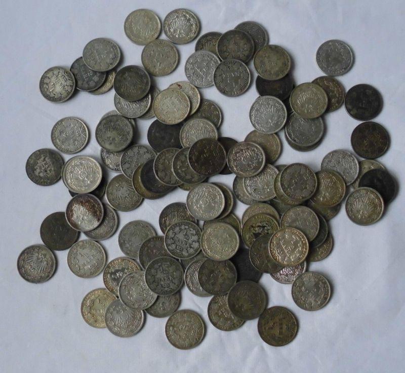 Sammlung mit 100 Silbermünzen 1/2 Mark Deutsches Reich Kaiserreich (119642)
