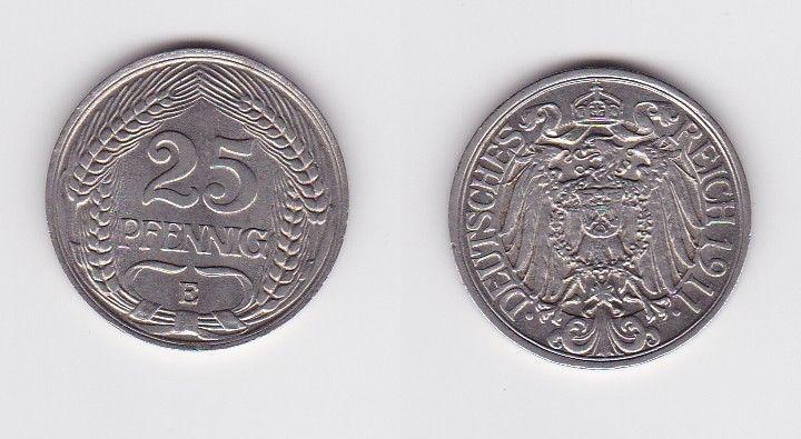 25 Pfennig Nickel Münze Deutsches Reich 1911 E Jäger 18  (122904)